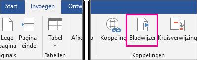 Het pictogram Bladwijzer is gemarkeerd op het tabblad Invoegen