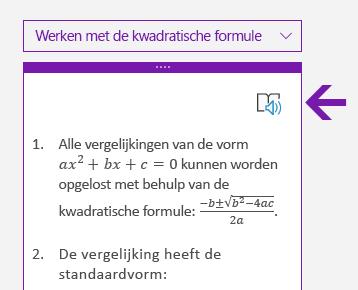 Pictogram Insluitende lezer in het deelvenster Wiskunde in OneNote voor Windows 10