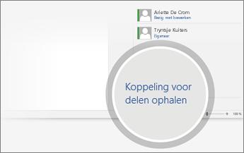 Een koppeling voor delen downloaden wordt vergroot weergegeven