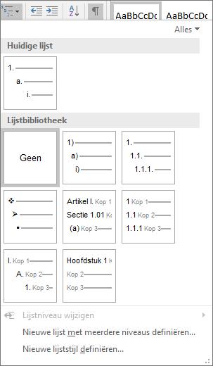 Kies de knop Lijst met meerdere niveaus om nummering toe te voegen aan een ingebouwde kopstijl, zoals Kop 1, in de kop van het document.