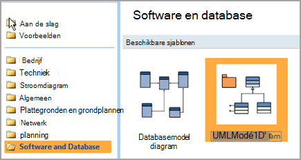 Selecteer Software en -Database
