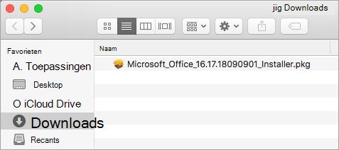 Het pictogram Downloads in het Dock met het installatiepakket voor Office 365