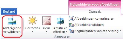 De knop Achtergrond verwijderen op het tabblad Opmaak van Hulpmiddelen voor afbeeldingen of op het lint in Office 2010