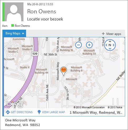 E-mailbericht met app Bing Maps waarin adres op een kaart wordt weergegeven