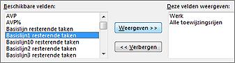 Het gedeelte Beschikbare velden in het dialoogvenster Detailstijlen