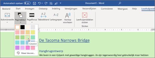 Een Word-document met een groene achtergrond en de paginakleurkiezer open