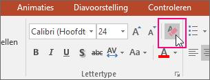 Het pictogram Alle opmaak wissen is gemarkeerd op het tabblad Start