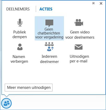 Schermafbeelding van de optie Geen chatberichten voor vergadering
