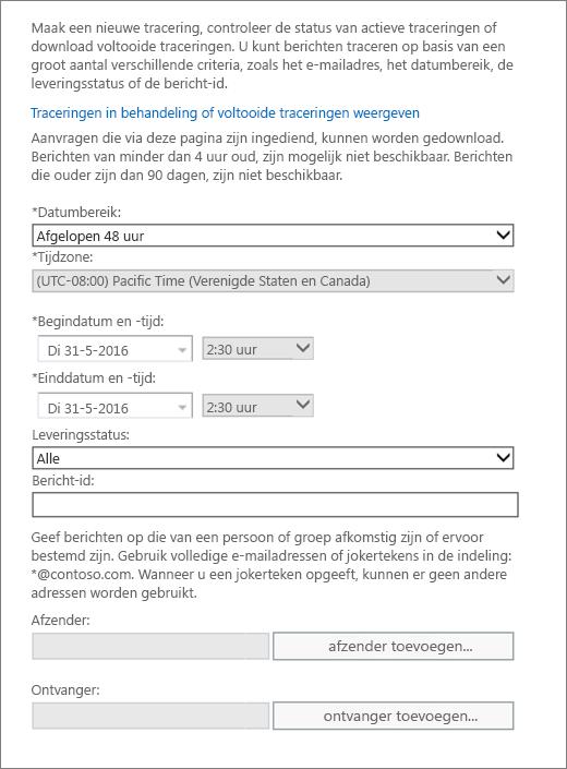 Schermafbeelding van de opties die beschikbaar zijn de berichttracering
