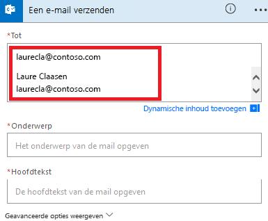 Schermafbeelding: Selecteer uw e-mail in de lijst