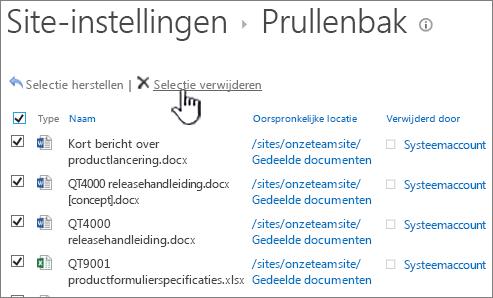 Prullenbak voor tweede stadium van SharePoint 2013 met alle items geselecteerd en knop Leegmaken gemarkeerd
