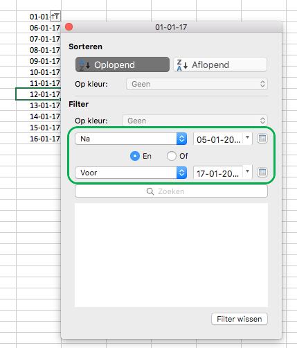Excel voor Mac: datumwaarden filteren