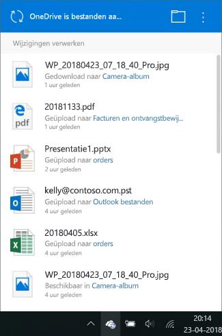 OneDrive-verwerking wijzigingen scherm