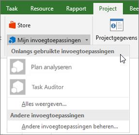 Schermafbeelding van het tabblad Project in het gebied van mijn invoegtoepassingen met de cursor naast de vervolgkeuzelijst recent gebruikte invoegtoepassingen. De namen van verschillende invoegtoepassingen worden weergegeven en u kunt klikken op de naam start de invoegtoepassing.