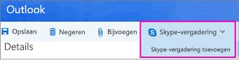 De optie Nieuwe Skype-vergadering in Outlook op het web