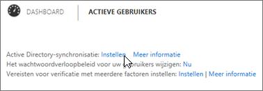 Kies Instellen bij Active Directory-synchronisatie