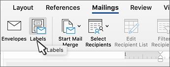 De knop Label op het lint mailings