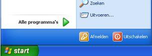 Knop Start en opdracht Uitvoeren in Windows XP