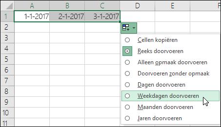 De vulgreep gebruiken om een lijst met opeenvolgende datums te maken