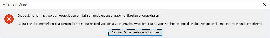 Dialoogvenster dat aangeeft dat het bestand niet kan worden opgeslagen.