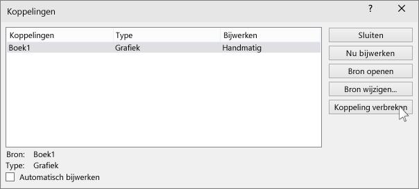 toont de optie 'koppeling verbreken' in powerpoint