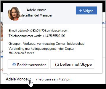 De hovercard, met de contactgegevens van de gebruiker en groepslidmaatschap