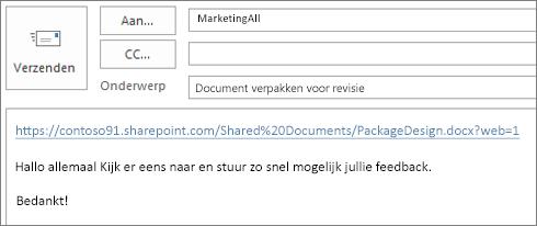 Een e-mailbericht met een koppeling schrijven