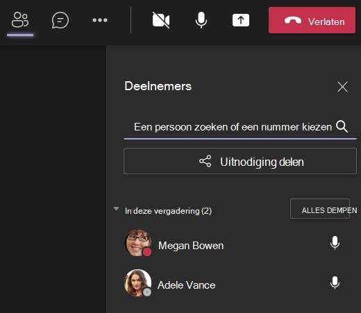 Teams iemand uitnodigen voor een gespreksscherm