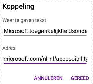 Dialoogvenster Hyperlink toevoegen in OneNote voor Android