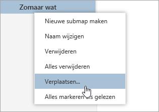 Scherm afbeelding van het snelmenu mappen met de optie verplaatsen geselecteerd
