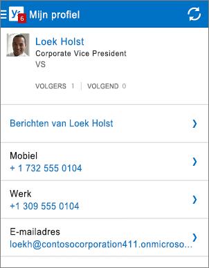 Profielpagina in Yammer-app
