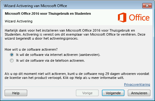 De Wizard Activering van Microsoft Office wordt weergegeven.