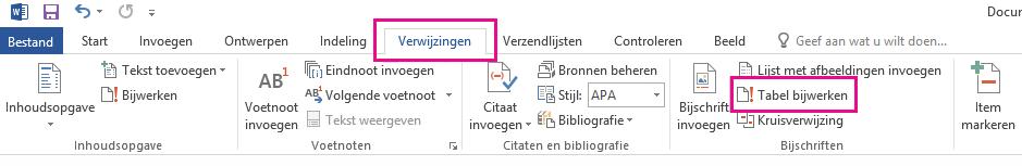 De opdracht Tabel bijwerken bevindt zich op het tabblad Verwijzingen.
