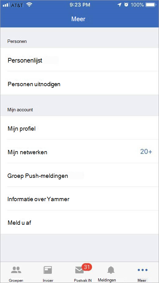 pagina voor iOS-Yammer met meer opties