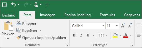 Geeft het kleurrijke lint met thema's weer in Excel 2016