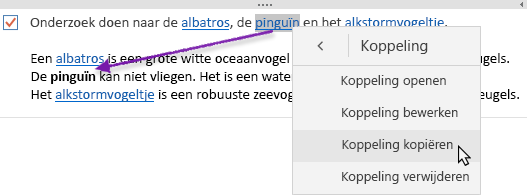 Toont een geselecteerde hyperlink die wordt gekopieerd naar een nieuwe locatie