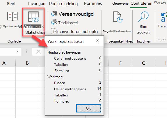 Het dialoogvenster werkmap statistieken