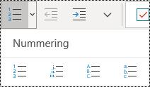 Knoppen voor een genummerde lijst op het lint van het menu Start in OneNote voor Windows 10.
