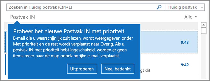 Een afbeelding van hoe een Postvak IN met prioriteit eruitziet als deze is uitgerold voor uw gebruikers en Outlook opnieuw wordt geopend.