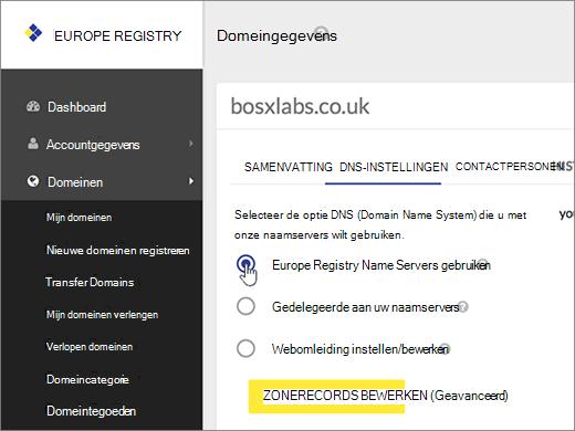 Selecteer Use Europe Registry Name Servers.