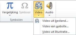 De knop op het lint voor het invoegen van een onlinevideo in PowerPoint 2010