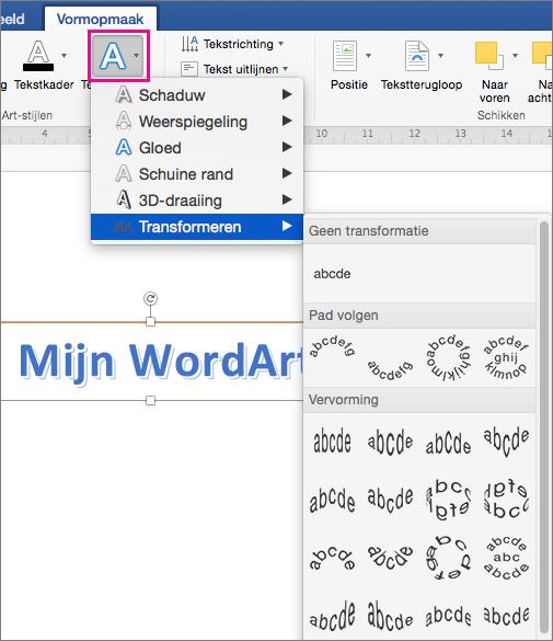 Tabblad Opmaak van de vorm met de optie Teksteffecten gemarkeerd.