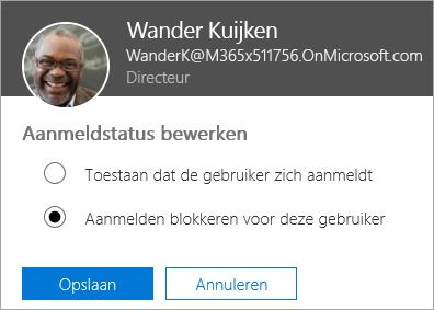 Schermafbeelding van het dialoogvenster Aanmeldstatus in Office 365