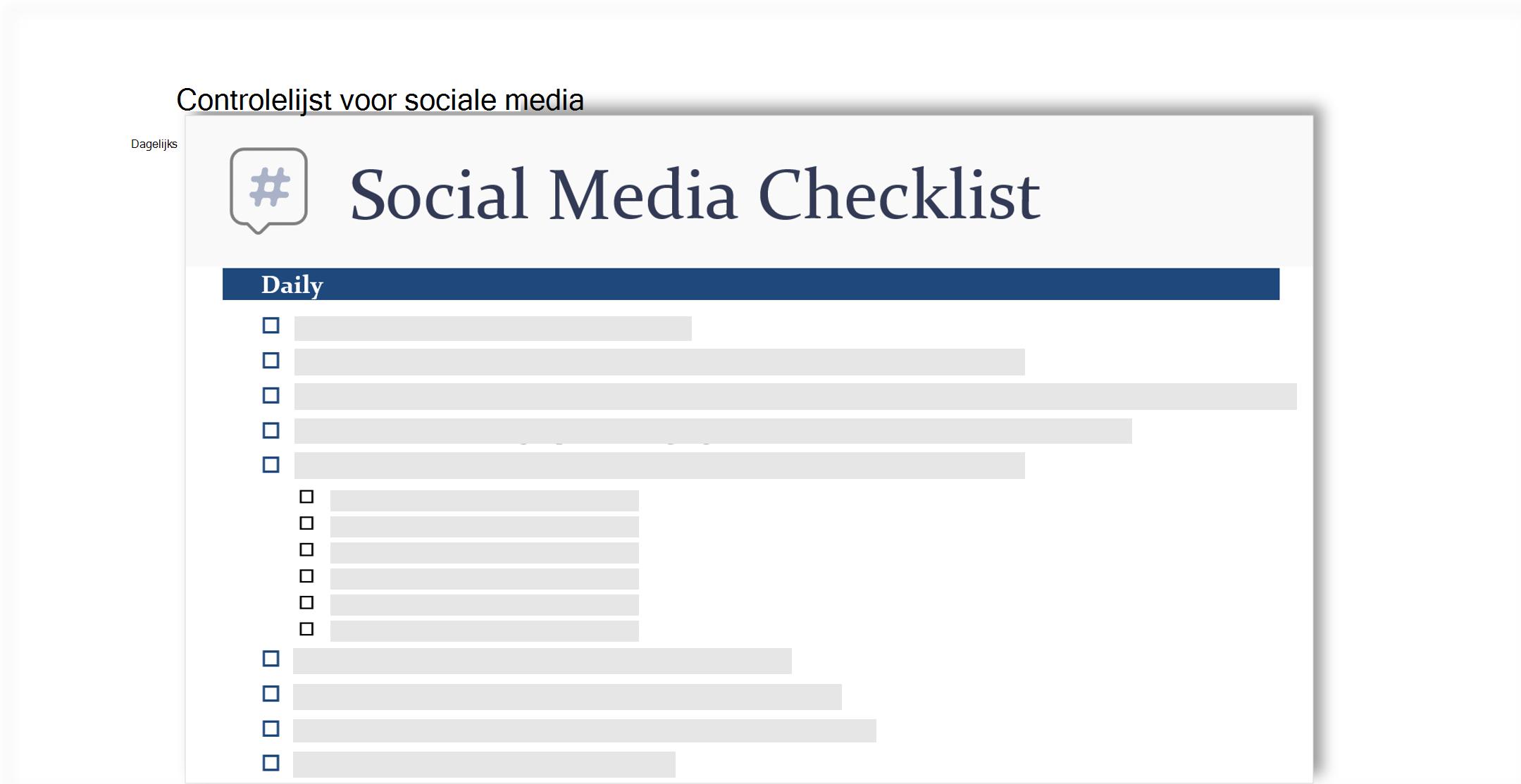 conceptuele weergave van een controlelijst sociale media