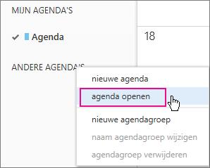 de menuoptie agenda openen van outlook web app