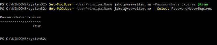 In deze afbeelding worden de opdrachten weergegeven waarmee wordt ingesteld dat het wachtwoord nooit verloopt en waarmee wordt gecontroleerd dat het op die manier is ingesteld.