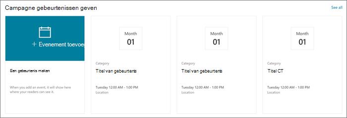 Voorbeeld van een webonderdeel invoer van een site met een modern Giving site in SharePoint Online