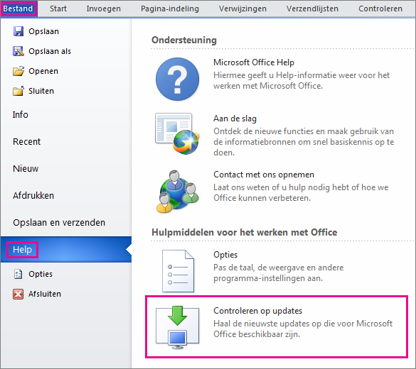 Handmatig controleren op Office-updates in Word 2010