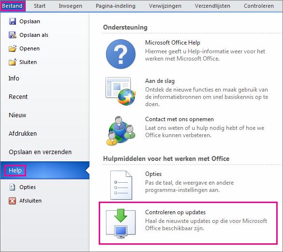Handmatig controleren op Office-updates in Word 2010