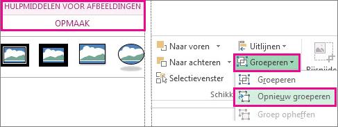 de knop opnieuw groeperen op het tabblad hulpmiddelen voor afbeeldingen - opmaak